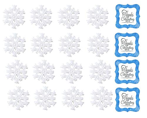 """24pk Snowflake 1 1/2"""" Edible Sugar Decoration Toppers for Cakes Cupcakes Cake Pops w. Edible Sparkle Flakes & Snowflakes Decorating Stickers"""