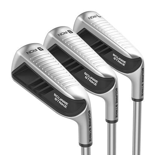 Square Strike Irons - 7, 8, 9 Irons - Iron Set for Men & Women (Right, Steel, Regular) (Best Forged Game Improvement Irons)