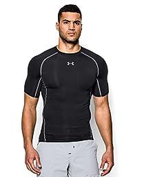 Under Armour Men\'s HeatGear Armour Short Sleeve Compression Shirt, Black/Steel, Large