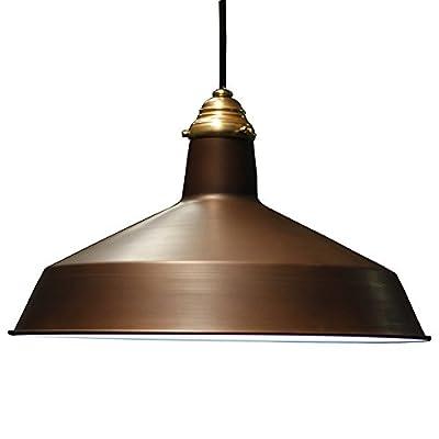 Vintage Barn Pendant w/ Raw Brass Top Cap - 120V Warehouse Shade Pendant Light