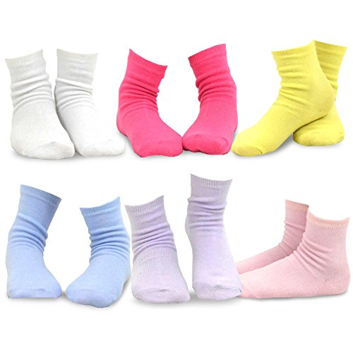 TeeHee Kids Girls Cotton Basic Crew Socks 6 Pair Pack for sale  Delivered anywhere in USA