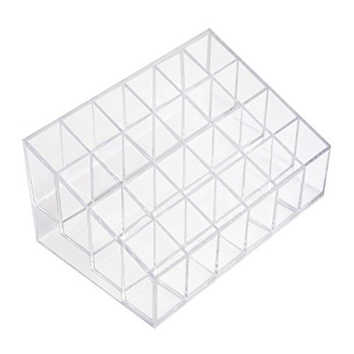 Onwon Transparent Cosmetic Makeup Organizer Clear 24 Lattices Lipsticks Cosmetic Lotion Makeup Organizer Storage Display Holder Stand