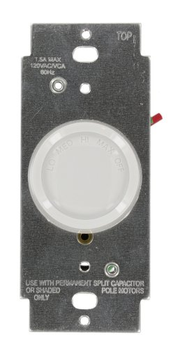 Leviton 6639-10Z Trimatron 1.5A Rotary Quiet Fan Speed Control, Single-Pole, White/Ivory/Light Almond by Leviton