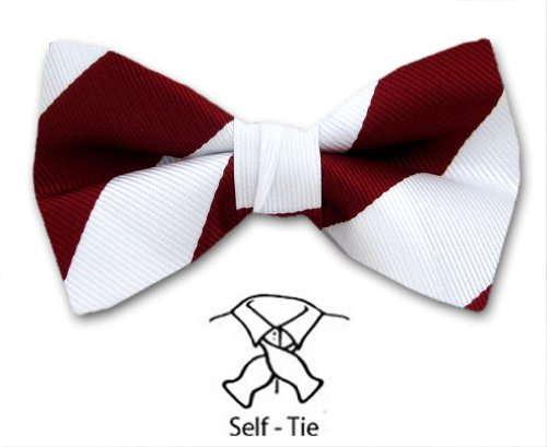 FBTS-ADF-427 - Self Tie Stripe Bow Tie for (White Stripe Self Tie)