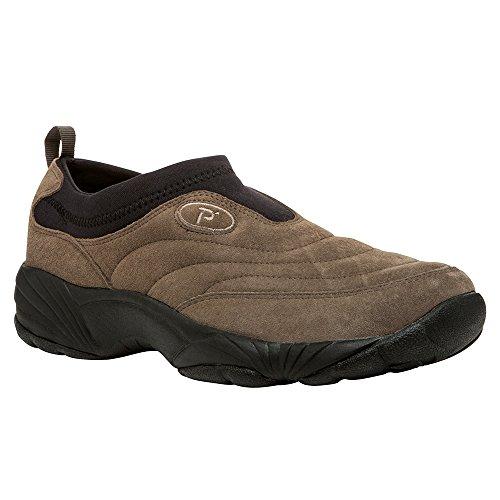 Propet Men's Wash N Wear Slip on Suede Walking Shoe, Sr Gunsmoke/Black, 10.5 5E US (Propet Washable)