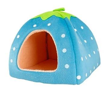 Pet Moon diseño de esponja suave color blanco lunares Fresa Pet Cat Dog Cama Casa con cálido peluche Pad: Amazon.es: Productos para mascotas