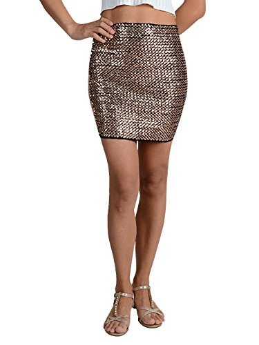 Glittery Shimmer - Anna-Kaci Womens Sequin Mini Skirt Bodycon Glittery Vegas High Waist Skirt, Rose Gold, Large/X-Large