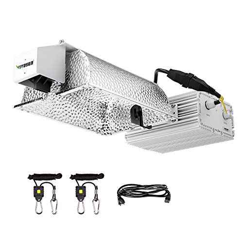 VIVOSUN 1000 Watt Double Ended Grow Light Fixture, 120/240V Ballast, 98% High Reflectivity for Better Growth, 1 Pair Rope Hanger Included (Upgraded Version)