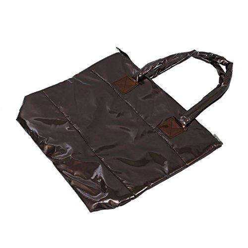 TOOGOO(R) Caldo di vendita Prodotti semplice alla moda Pure spalle Colore Cotton Stripe Inverno della borsa-rosso Marrone