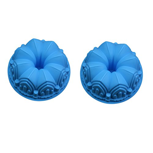 Fityle 2pcs Silicone Bundt Crown Shape Cake Baking Tin Mold Pan Nonstick Bakeware