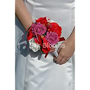 Red Anemone, Pink & White Roses Bridesmaid Wedding Flowers 50