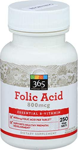 365 Everyday Value, Folic Acid 800mcg, 250 ct