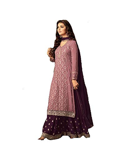 - ziya Indian/Pakistani Ethnic wear Georgette Plaazo Salwar Kameez (Light Pink, 3X-54)