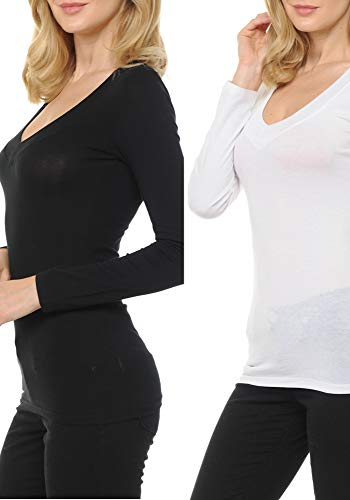 - ClothingAve. Womens Cotton Jersey Basic Wideband Deep V-Neck Long Sleeve T-Shirt Variety of Color, ValuePack Options (S-3X) - 2 Pack (Black, White) / Small