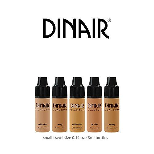 Mini Sample Size Bottles Set   Dinair Airbrush Makeup Foundation   Tan Shades   GLAMOUR: Natural, Light coverage, Matte