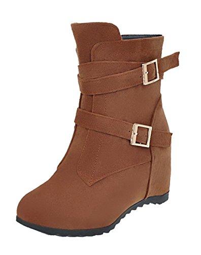 Botas Cremallera Baja Tacón Caña Mujeres Marrón Alto SuedeSólido Shoes AgeeMi 7wpqAA
