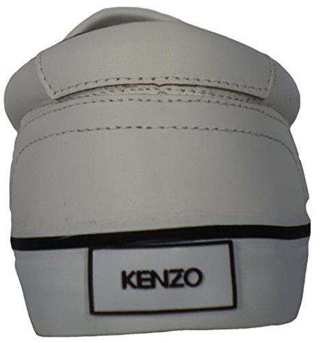 Kenzo Shoes Leather Slip On Tiger Logo Velvet Nappa M558 White jvTclcb8