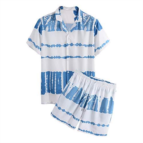 Männer Frühling und Sommer Urlaub Strand Casual Loose Kurzarm Shorts Set (Blue,XXL)