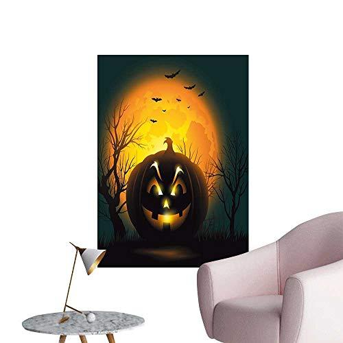 Halloween Retro Poster Decorative Painting Fierce Character Evil Face Ominous Aggressive Pumpkin Full Moon Bats Mural Blackboard DIY White Orange Dark Brown Black W32 x H48]()