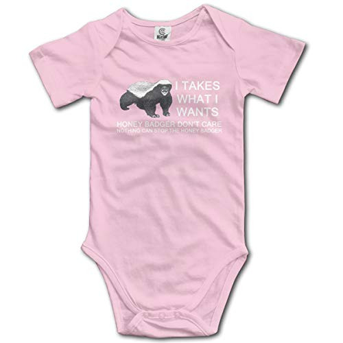 Baby Climbing Clothes Set Honey Badger Bodysuits Romper Short Sleeved Light Onesies Pink ()
