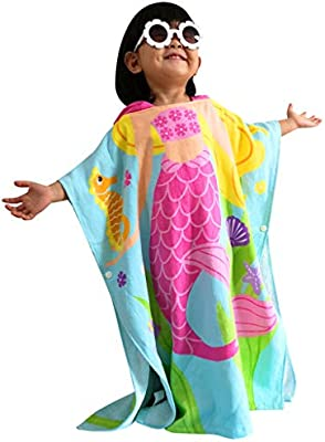 83794afd7737e Athaelay 2-7 Years Old Girls Swim Cover-ups Hooded Towel for Kids Toddlers  Beach Boating Surfing etc. Mermaid Theme Soft and Breathable Pool Poncho  Bathrobe