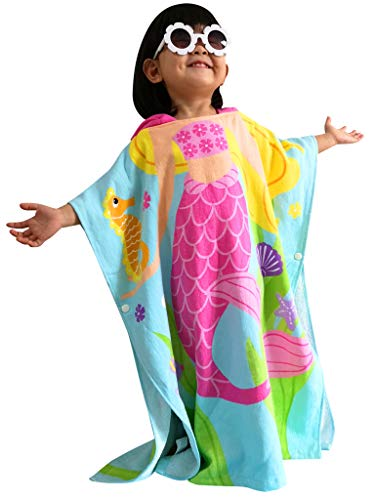 Athaelay 2-7 Years Old Girls Swim Cover-ups Hooded Towel for Kids Toddlers Beach Boating Surfing etc. Mermaid Theme Soft and Breathable Pool Poncho Bathrobe (Beach Towel Surfing)