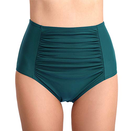 Joyaria Womens Retro Ruched Bikini Brief Bottoms Ruched Hipster Swim Bottoms (XX-Large, High Waist-Green) ()