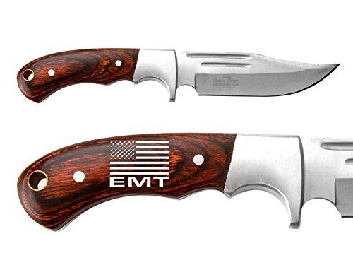 US-FLAG-Emergency-Medical-Team-Engraved-Hand-Painted-Elk-Ridge-ER-052-Pakkawood-Bolster-Full-Tang-Fixed-Blade-Hunting-Straight-Edge-Knife