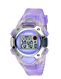 Kid's 5-12 Years Digital Electronic Outdoor Sport Colorful Sunshine Boys and Girls Watch Purple