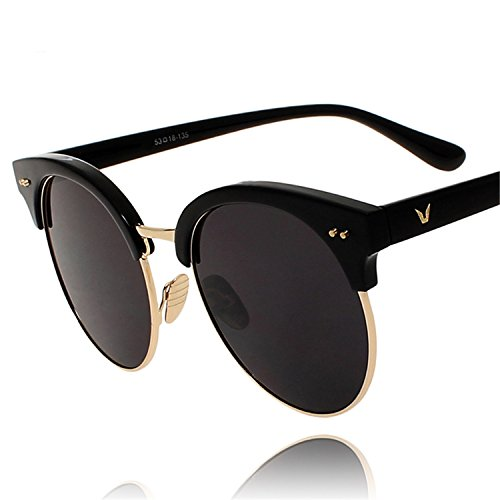 CoWalker® Stylish Dazzle Flash Lens Sunglasses Sun Protective Eyewear Semi Frame Eye Glasses Summer - Goggles Stylish