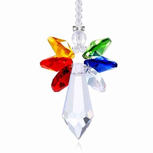 Anna Crystalworld Rainbow Guardian Angel Crystal Suncatcher For Home/Car Decoration & Porch Decor & Hangings Crystal Glass Ornament (Rainbow) (Angels Decorations)
