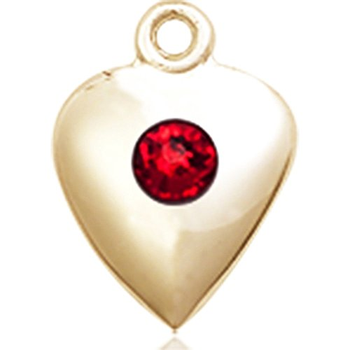 14kt Yellow Gold Heart Medal with 3mm July Red Swarovski Crystal 1 1/4 x 1 5/8 inches by Bonyak Jewelry Saint Medal Collection