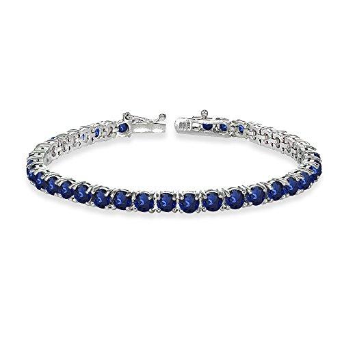 - Sterling Silver 4mm Created Blue Sapphire Round-cut Tennis Bracelet