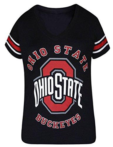 womens-ohio-state-buckeyes-v-neck-sporty-vintage-shirts-tops-black-size-l