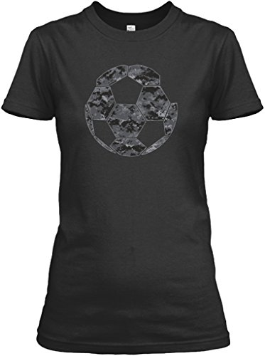 Black Grey Camo Soccer Tshirt - M (6-8) - Black - Gildan Women's Relaxed Tee