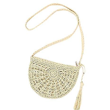 Straw Crossbody Bag Women Weave Shoulder Bag Summer Beach Purse for Travel