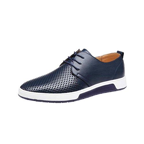 Mens Hollow Solid Leather Shoes Men's Summer Breathable Business Leisure Slip-On Driving Office Shoes (Navy, 47(US:10.5)) by Sunshinehomely