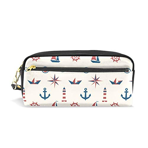 Steering Holder Wheel Key (Students Pencil Case Pouch Ship Steering Wheel Compass Anchor PU Leatehr Organizer Pen Holder Box Women Purse Wallet Waterproof Large Capacity Hand Mini Cosmetic Makeup Bag)