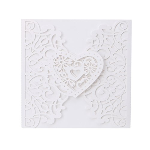 Tebatu 10 Pieces Heart Wedding Invitation Cards Kit With Envelopes Seals Personalized Printing