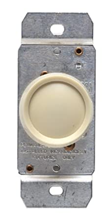 leviton ivory 3-way rotary push on/off light dimmer switch 600w 6683-i -  wall dimmer switches - amazon com