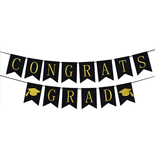Congrats Grad Banner, Black and Gold - Graduations Party Supplies 2019 Class of and Luxurious Banner for Graduation Banner for Graduation Decoration]()