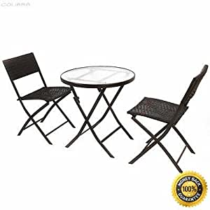 COLIBROX-- Patio Furniture Folding 3PC Table Chair Set Bistro Style Backyard Ratten Patio Furniture Set Dining Brown Rattan Table Chairs Cushions Garden New