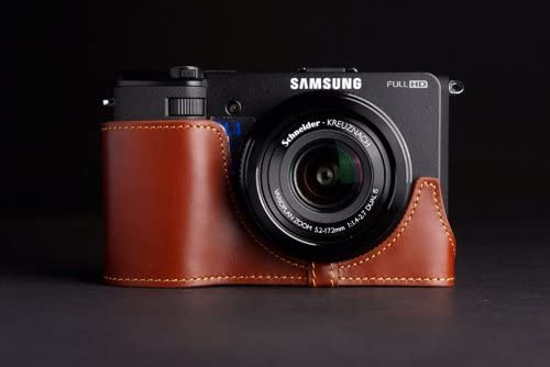 Handmade Genuine real Leather Half Camera Case bag cover for Samsung EX2F Brown color
