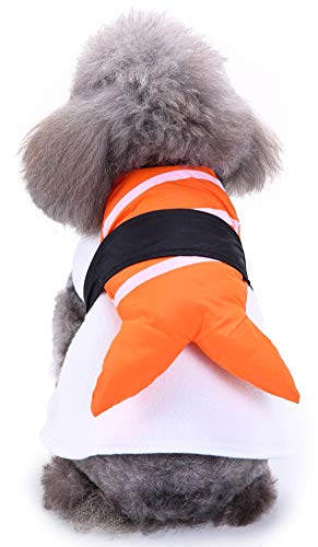 MaruPet Halloween Fancy Fleece Dogs Cats Warm Costumes Coat Shrimp Sushi for Teddy, Pug, Chihuahua, Shih Tzu, Yorkshire Terriers, Papillon V-Sushi S -