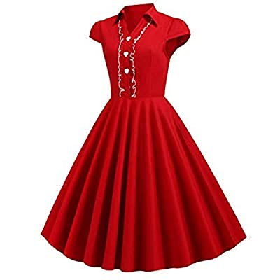 Women's Cocktail Dresses 1950s Retro Rockabilly Dress Cap Sleeve Vintage Solid Button Down Pleated Formal Party Dress