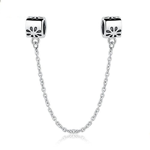Safety Chain Charm 925 Sterling Silver Beads fit for Fashion Charms Bracelet & Necklace (Vintage Flower Safety Chain)