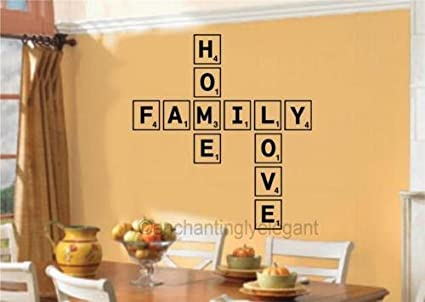 3D Scrabble Letters Personalised Letters you Choose  Lounge Vinyl wall Sticker
