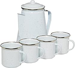 STANSPORT 11230-03 Enamel Percolator Coffee Pot & 4 Mug Set by Stansport