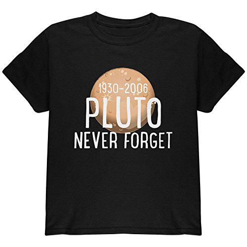 Old Glory Planet Pluto Never Forget Dwarf Youth T Shirt Black (Dwarf Youth T-shirt)