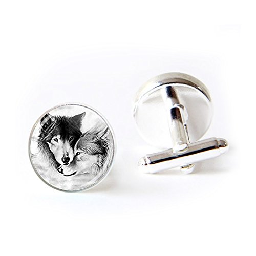 LEO BON Mens Classy Cufflinks Wolf Couple Wolf Jewelry Loyalty Wolves Deluxe Wedding Business Cuff Links Movement Shirts Studs Button from LEO BON
